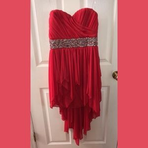 Red high to low formal dress